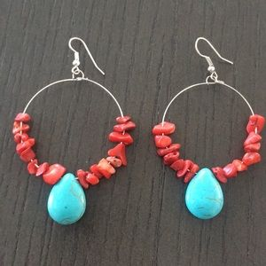 Silver Hoop Earring Coral/Turquoise Accent Beads